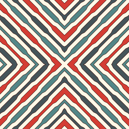 Ethnic style seamless pattern with geometric figures. Repeated stripes ornamental abstract background. Tribal motif. Boho chic digital paper, textile print, page fill. Vector art Vettoriali