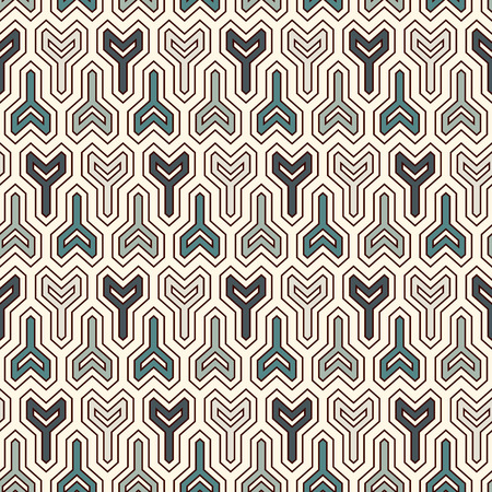 Interlocking three pronged blocks background. Winder keys motif. Ethnic style seamless pattern with repeated geometric figures. Oriental ornament. Digital paper, textile print, page fill. Vector art. Illustration