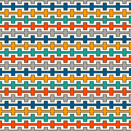 Bright colors seamless pattern with battlement curved lines. Repeated geometric figures wallpaper. Modern style surface texture. Digital paper, textile print, page fill. Vector art