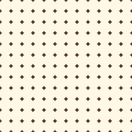 Minimalistische abstracte achtergrond. Eenvoudige moderne print met kruisjes. Een overzicht van naadloze patroon met geometrische figuren. Digitaal papier, textieldruk, paginavulling. Vector kunst