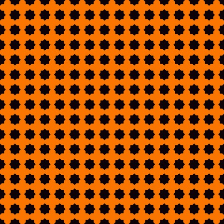 Seamless pattern with stylezed black ink spots on orange background. Geometric abstract ornament. Halloween design concept digital paper, textile print, page fill. Vector illustration Illustration