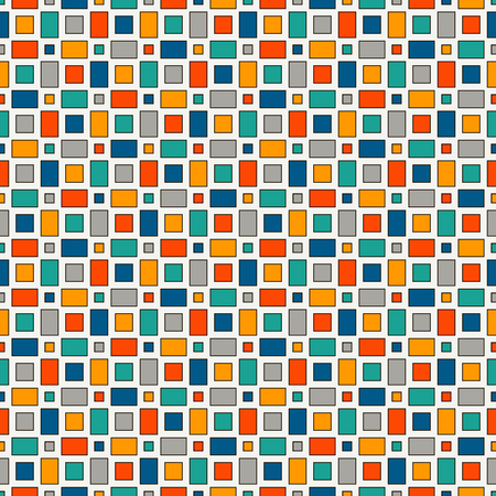 repeated: Seamless pattern with geometric figures. Repeated squares ornamental abstract background. Checkered wallpaper. Vivid colors digital paper, textile print, page fill. Vector art