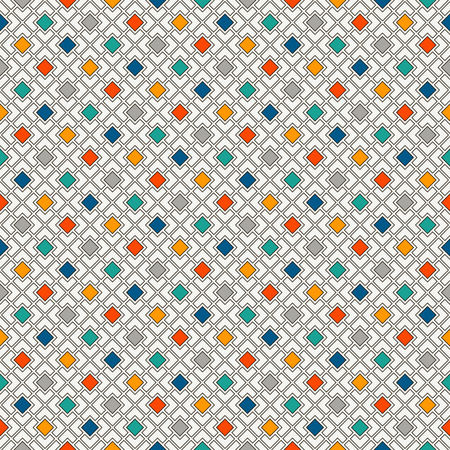 Repeated bright diamonds background. Geometric motif. Seamless surface pattern design with vivid colors square ornament. Grid digital paper, textile print, web designing. Vector art. Illustration