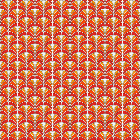 repeated: Fish scale wallpaper. Asian traditional ornament with repeated scallops. Hand fan motif. Seamless surface pattern with semicircles. Oriental digital paper, textile print, page fill. Vector art
