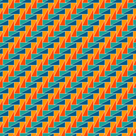 Rectangular interlocking blocks wallpaper, seamless surface pattern design with repeated triangles. Illustration