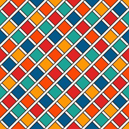 Herhaalde heldere diamantenachtergrond. Geometrisch motief. Naadloze oppervlakte patroonontwerp met levendige kleuren vierkante sieraad. Raster digitaal papier, textieldruk, webontwerpen. Vector kunst.