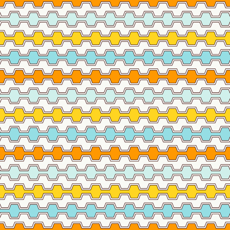 Summer colors seamless pattern with battlement curved lines. Repeated geometric figures wallpaper. Modern style surface texture. Digital paper, textile print, page fill. Vector art