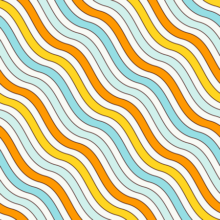 Blue and yellow colors diagonal wavy stripes seamless pattern. Repeated line wallpaper. Abstract background with simple classic motif. Digital paper, textile print, page fill. Vector illustration