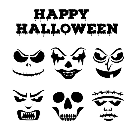 Collection of Halloween pumpkins carved faces silhouettes. Black and white images. Template with variety of eyes, mouths and noses for cut out jack o lantern. Vector illustration Ilustração