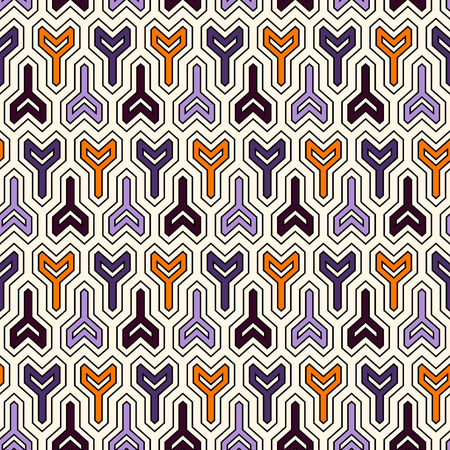 Seamless pattern in Halloween traditional colors with arrows motif. Repeated winder keys. Simple modern print with pointers. Scrapbook digital paper, textile print, page fill. Vector art