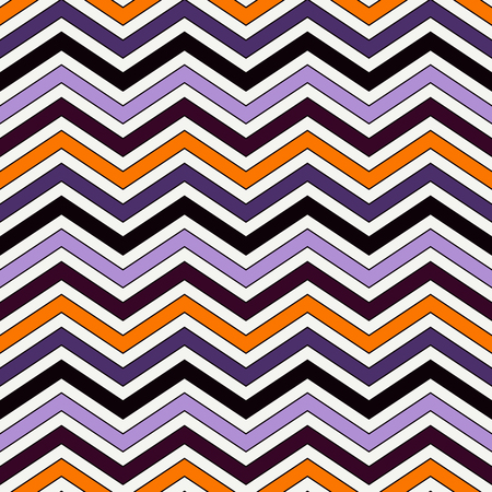 Chevron diagonal stripes abstract background. Seamless pattern in Halloween traditional colors. Zigzag horizontal lines wallpaper. Vivid digital paper, textile print, page fill. Vector art Illustration