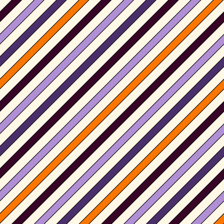 Seamless pattern in Halloween traditional colors with simple classic motif. Diagonal stripes background. Thin slanting line wallpaper. Digital paper, textile print, page fill. Vector illustration