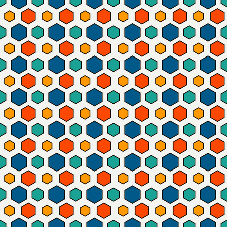 Honeycomb grid abstract background. Repeated irregular hexagon wallpaper. Seamless surface pattern with classic geometric ornament. Digital paper, textile print, page fill. Vector art