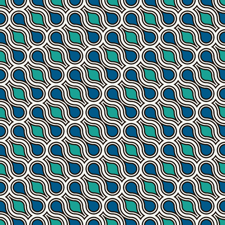 Interlocking figures tessellation abstract background. Repeated geometric shapes. Ethnic mosaic tiles ornament. Oriental wallpaper. Seamless surface pattern design with dumbbell motifs. Vector art.