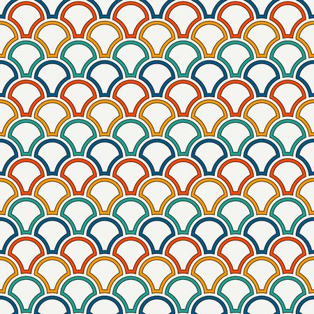 Bright color fish scale wallpaper design.