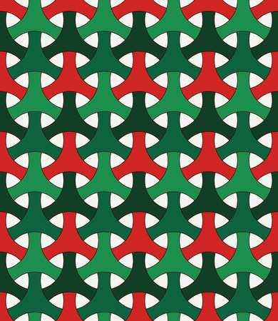 Seamless pattern in Christmas traditional colors with classic japanese ornament. Three pronged blocks tessellation. Repeated interlocking figures. Bishamon armor motif. Vector abstract Illustration