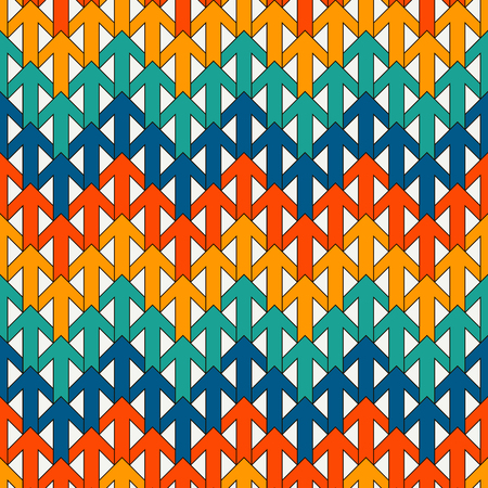 Bright modern print with interlocking arrows. Contemporary abstract background with repeated pointers. Colorful seamless pattern with geometric figures. Creative wallpaper. Vector digital paper