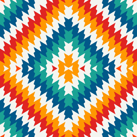 Ethnic style seamless pattern with chevron lines. Native americans ornamental background. Tribal motif. Colorful mosaic wallpaper. Boho chic digital paper, textile print, page fill. Vector art