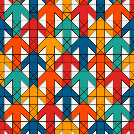 Bright modern print with interlocking arrows. Contemporary abstract background with repeated pointers. Colorful seamless pattern with geometric figures creative wallpaper vector digital paper. Illustration