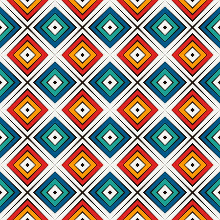 African style seamless surface pattern in bright colors. Ethnic and tribal motif. Repeated rhombuses ornamental abstract background.