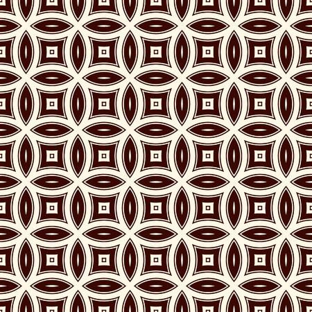 Brown colors abstract background with overlapping circles. Petals motif. Seamless pattern with classic geometric ornament. Digital paper, textile print, page fill. Vector art Ilustracja