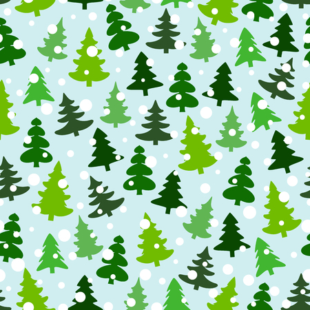 Seamless pattern with green silhouettes of fir-trees and pines. Winter forest background. Scrapbook digital paper, textile print, page fill. Vector illustration