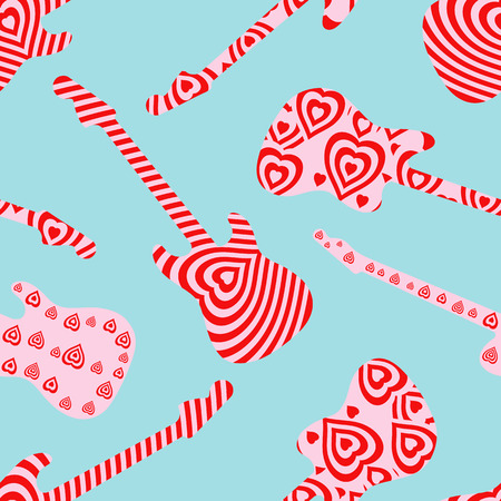 Seamless pattern with hearts finish guitar on blue background. Valentine's Day concept guitar silhouettes. Vector illustration