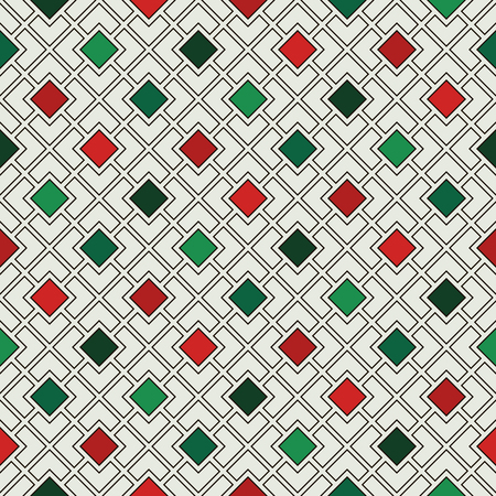 Repeated diamonds and lines background. Geometric motif. Seamless pattern in Christmas traditional colors with rhombuses ornament. Grid digital paper, textile print. Vector illustration