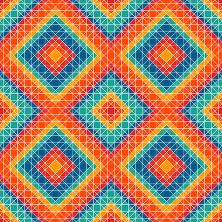 Bright color stained glass mosaic background. Seamless pattern with kaleidoscope geometric ornament. Illustration