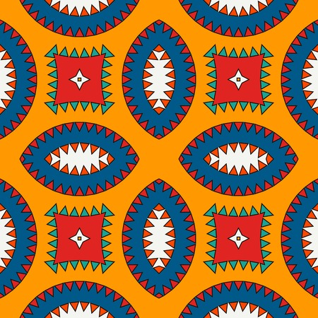 African style seamless surface pattern with abstract figures. Bright ethnic and tribal print with geometric forms.