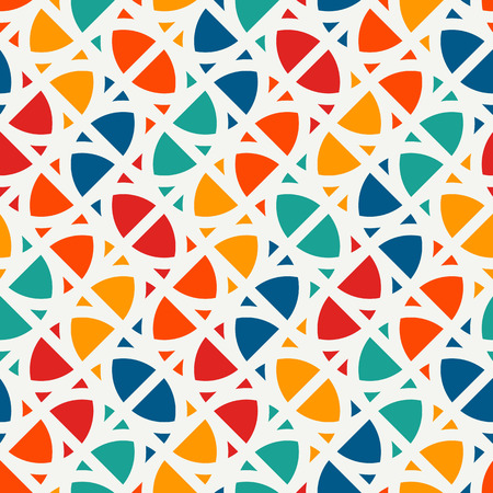 Bright modern print with geometric shapes. Contemporary abstract background with repeated figures. Colorful seamless pattern with geometric forms. 矢量图像