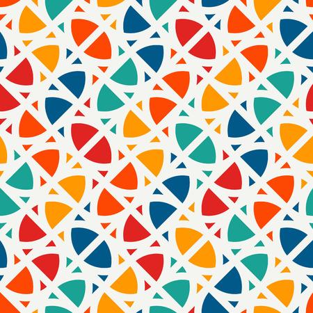 Heller moderner Druck mit geometrischen Formen. Zeitgenössischer abstrakter Hintergrund mit wiederholten Zahlen. Buntes nahtloses Muster mit geometrischen Formen.