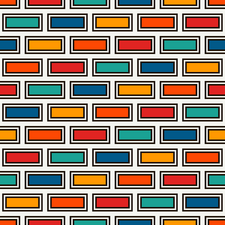 Brick wall abstract background on Bright colors seamless pattern with classic geometric ornament.
