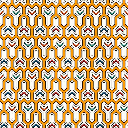 Interlocking three-pronged blocks background Vector art.