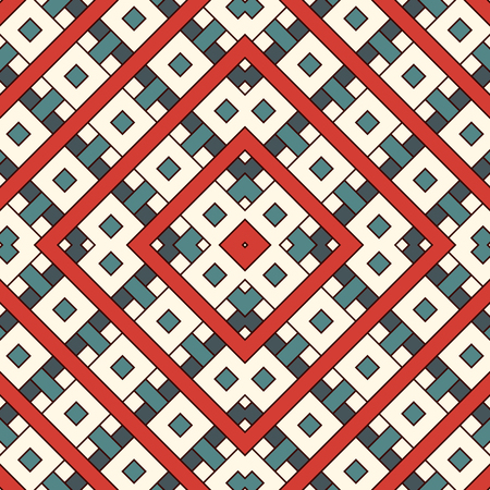 Overlapping rectangles and squares background Seamless pattern design with repeated overlay geometric figures.