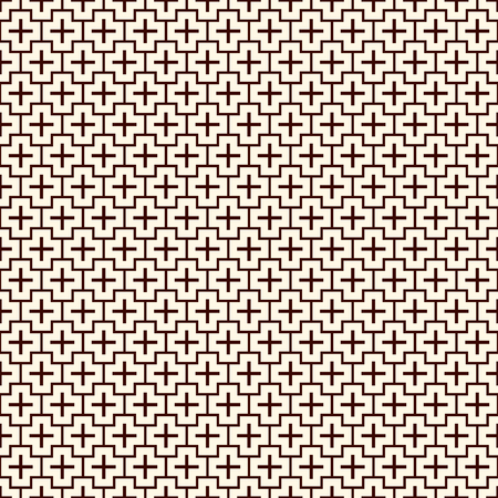 Minimalist abstract background. Simple modern print with crosses. Outline seamless pattern with geometric figures. Contemporary digital paper, textile print, page fill. Vector art. Ilustrace