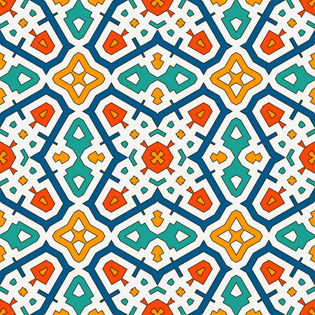 Colorful kaleidoscope abstract background. Eclectic mosaic tile. Bright seamless surface pattern with geometric ornament. Illustration