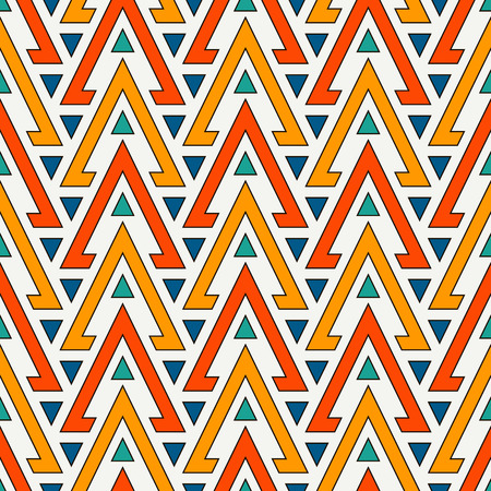 Bright hollow and solid triangles on white background. Repeated figures wallpaper.