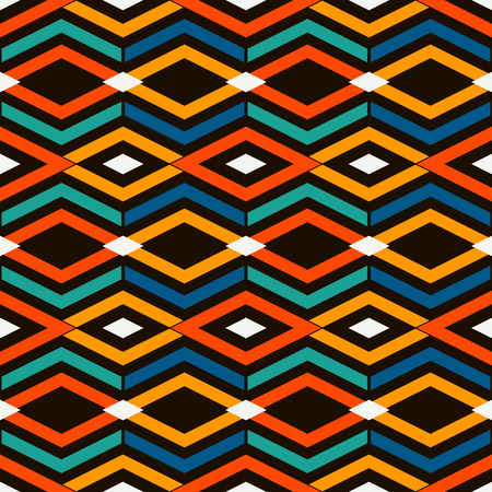 Ethnic and tribal style bright seamless surface pattern with rhombuses and lines. Diamonds motif. Repeated geometric figures abstract background. Ornamental digital paper, textile print. Vector art Çizim