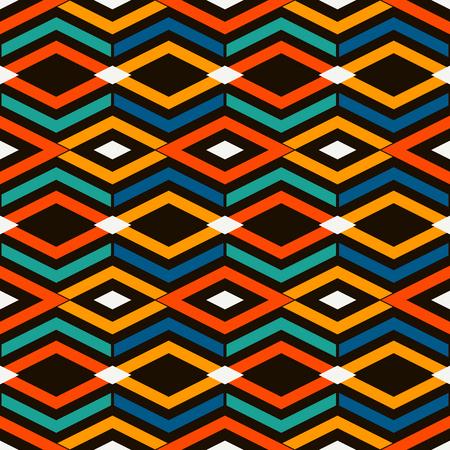 Modello di superficie senza soluzione di continuità brillante stile etnico e tribale con rombi e linee. Motivo di diamanti. Figure geometriche ripetute astratto. Carta digitale ornamentale, stampa tessile. Arte vettoriale Vettoriali