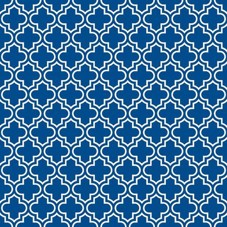 Diseño de superficie sin costuras con adorno de conopial. Patrón tradicional oriental con mosaico repetido. Papel tapiz de ventana de tracería. Motivo de formas de linterna. Papel digital arabesque, estampado textil. Arte vectorial
