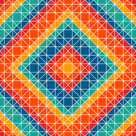 Bright color stained glass mosaic background. Seamless pattern with kaleidoscope geometric ornament. Checkered abstract wallpaper. Mexican thread craft motif. Ethnic style surface texture. Vector