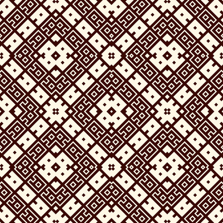 Seamless surface pattern design with ethnic ornament. Embroidery motif. Ancient ornamental wallpaper. Repeated geometric forms. Digital paper, textile print, page fill. Vector art