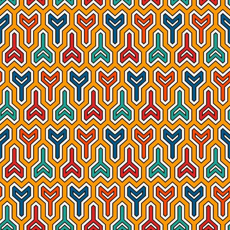Interlocking three pronged blocks background. Winder keys motif. Ethnic style seamless pattern with repeated geometric figures. Oriental ornament. Digital paper, textile print, page fill. Vector art. Ilustrace