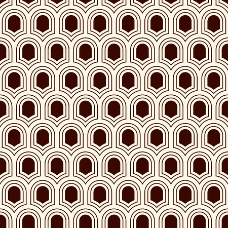 Seamless surface pattern with repeated ancient shields. Geometric figures abstract background. Simple ornament with scale motifs. Digital paper, textile print, page fill. Vector art. Ilustrace