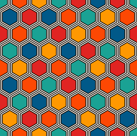 Honeycomb abstract background. Vivid colors repeated hexagon tiles mosaic wallpaper. Seamless surface pattern with classic geometric ornament. Digital paper, textile print, page fill. Vector art