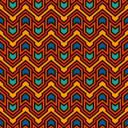 Seamless pattern with arrows and pointers. Repeated chevrons wallpaper. Tribal and ethnic motif. Native americans ornamental abstract background. Boho chic digital paper, textile print. Vector art Ilustrace