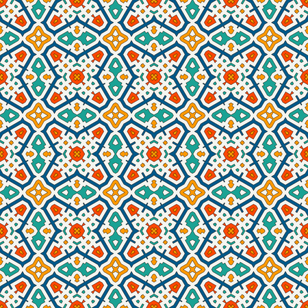 Colorful kaleidoscope abstract background. Eclectic mosaic tile. Bright seamless surface pattern with geometric ornament. Ornamental vivid wallpaper. Ethnic digital paper, textile print. Vector art Ilustrace
