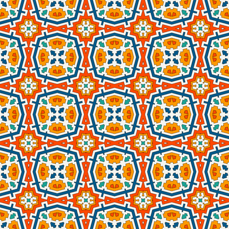 Colorful kaleidoscope abstract background. Eclectic mosaic tile. Bright seamless surface pattern with geometric ornament. Ornamental vivid wallpaper. Ethnic digital paper, textile print. Vector art 向量圖像