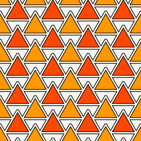 Repeated triangles on white background. Simple abstract wallpaper. Seamless surface pattern design with geometric figures. African style digital paper, textile print, page fill. Vector art